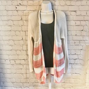 Wild Pearl Knit Cardigan Coral/White XS
